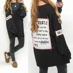 2019冬 BIGシルエット バックプリント&胸元ポッケ付 厚めロンT  オーバーサイズ ブラック