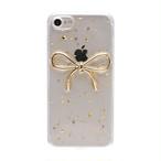 iPhone ケース 韓国 金箔 ゴールド リボン かわいい クリア 透明 個性的 面白い おもしろ クリア ケース 可愛い お洒落  iPhone7/8 iPhoneX/Xs iPhoneXR スマホケース 携帯ケース