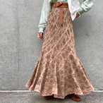 (LOOK) flower × lace asymmetry long skirt
