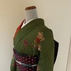 正絹ちりめん 緑と赤に橘の付け下げ 袷の着物