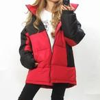 こだわりデザイン 中綿ダウンジャケット 配色切替 肉厚 軽量あったか オーバーサイズ レッド×ブラック