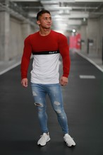 ONE-X LOWER CHEST BLOCKING LONG SLEEVE T-SHIRT RED