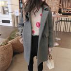 【outer】ソリッドカラー定番デザインスーツ襟ラシャコート