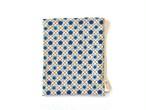 ハリネズミ用寝袋 M(夏用) 綿麻リップル×スムースニット 花小紋 ブルー