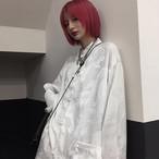 【長袖】 チャイナ風トップス シャツ 改良唐装 中華服 ブラック ホワイト 男女兼用 M L LL