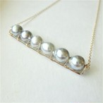 送料無料 14kgf♡Japanese Akoya sea pearl line bar necklace NATURAL SILVER