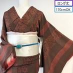 【ロング丈】使用感少! 小紋 縦縞&更紗調 レッドブウラン 丈167.5裄65