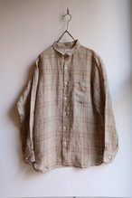 OLDMAN'S TAILOR/オールドマンズテーラー リネンスモールカラーシャツ BEIGE CHECK #SA333 メンズ【お問い合わせ商品】