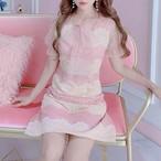୨୧ pink×creamガーリーワンピ ୨୧