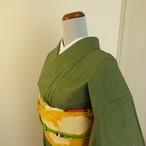 正絹本場大島紬 和菓子みたいな抹茶小紋 袷の着物
