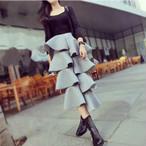 【ボトムス】モード系個性派ファッションにフリル タイト スカート 24919682