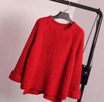 ざっくりケーブル編みニットセーター レッド
