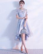 パーティードレス ミモレ丈 結婚式 お呼ばれ ワンピース 二次会 袖あり 透け感レース 大きいサイズ フォーマル イブニングドレス
