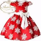 クリスマス 衣装 撮影 女の子 半袖 aライン ドレス 可愛い 綺麗 雪の結晶 100 110 120 130 140 150 160