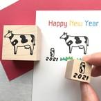 2021年賀状はんこ【丑とミルク】