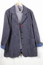 LLサイズのジャケット JK 01 藍染茶ダンガリー(K9茶)