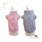 3。犬 服 韓国 Tシャツ ブルー ピンク ストライプ 袖あり シンプル 春 夏物
