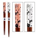 【猫3兄弟】八角箸【ピンク21cm/ホワイト23cm】日本製