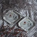 【 鶴平皿 】芒 / 朝焼 / 菱形皿 / vintage / japan