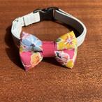 猫の首輪 リボン首輪 リバティ グログランリボン フューシャピンク 花柄