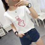 【tops】清新プリントカジュアル合わせやすいトップスTシャツ