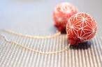 【麻 ASA】東京2020・麻の葉模様とビーズ刺繍の大きめピアス(赤)