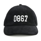 0867 / Corduroy Cap / College / Logo / Black