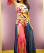 エジプト製 ベリーダンス衣装 コスチューム ピンク&ブルー Star
