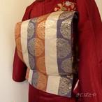 正絹 縦縞に金糸の唐花の袋帯 両面使い