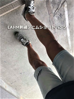 【入荷しました:限定スポットアイテム:お早めに】LAHM刺繍デニムショートパンツ  LAHM(エルエーエイチエム)