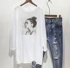 【即納】春ファッション♡ オーバーサイズ  ロングTシャツ 体型カバー デザインTシャツ カットソー ラウンドネック