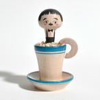 コーヒーカップこけしちゃん 約2.5寸 約7.4cm 長谷川優志 工人(津軽系)#0078