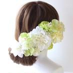白とグリーンのダリア、マム、ランの髪飾り