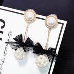【小物】アクセサリーレースラインストーンレディースイアリング真珠