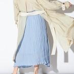 【すっきりシルエットラインでスタイルアップに★】クリンクル プリーツスカート スモーキーブルー