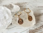 Gold coin circle earrings