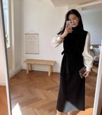 ジョエルニットロングシャツワンピース ニットワンピース シャツワンピース 韓国ファッション