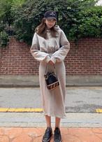 予約注文商品 スプリングロングフードワンピース スウェットワンピース ワンピース 韓国ファッション