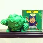 ラーメンくんゴム人形 (緑) + 復刻版・六感堂シール(アルミ)