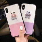 チェリー キラキラ シンプル iPhone シェルカバー ケース ピンク パープル バイカラー 可愛い ★ iPhone 6 / 6s / 6Plus / 6sPlus / 7 / 7Plus / 8 / 8Plus / X ★ [MD430]