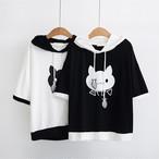 [新商品]おさかなにゃんこ半袖パーカーシャツ