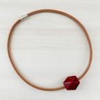 飛騨春慶塗 革紐ネックレス 紅×箔 46cm (N001)