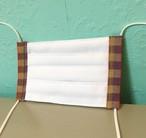 送料無料 伊勢木綿マスク プリーツ型 ヒモ付き フチがオレンジと黄色と紫のチェック柄 布マスク