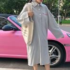 ポロシャツワンピース 長袖ワンピース トレーナー Tシャツワンピース【0420】