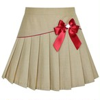 《School collection》Skirt Beige Pleated Bow Tie  (送料無料)