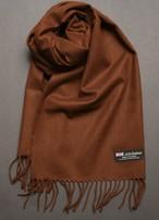 スコットランド製 暖かカシミア100% お洒落な茶色の単色マフラー 男女兼用