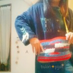 手編み デニム風 オルテガ柄 2wayバッグ クラッチ&ショルダー