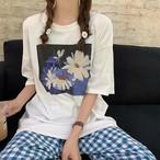 【送料無料】 おしゃれワントーンコーデ♡ デイジー オーバーサイズ Tシャツ × ギンガムチェック パンツ 2点セット