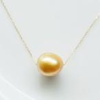 K18 ゴールデンパールのシンプル1粒ネックレス