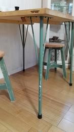 アイアンレッグ DIY素材テーブル脚 傾斜タイプ4本セット鉄足 (L ミントグリーン)